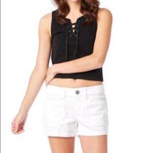Union Bay Mini Shorts Solid White Delaney Pockets